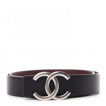CHANEL Calfskin CC Reversible Belt 80 Black Burgundy