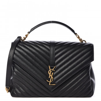 SAINT LAURENT Sheepskin Matelasse Chevron Monogram Large College Satchel Black