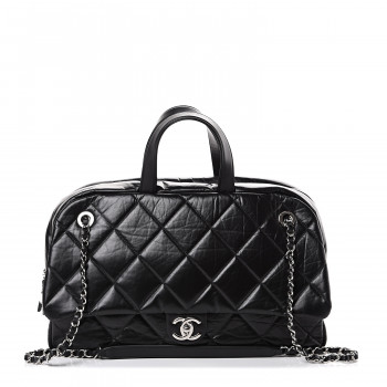 CHANEL Aged Calfskin Quilted Express Bowling Bag Black