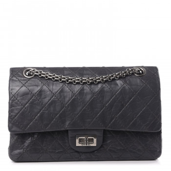 CHANEL Aged Calfskin Quilted 50th Anniversary 2.55 Reissue 225 Flap Gris
