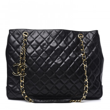 CHANEL Lambskin Quilted Shopping Tote Black