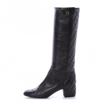 CHANEL Lambskin Quilted Reissue Knee High Tall Boots 39 Black