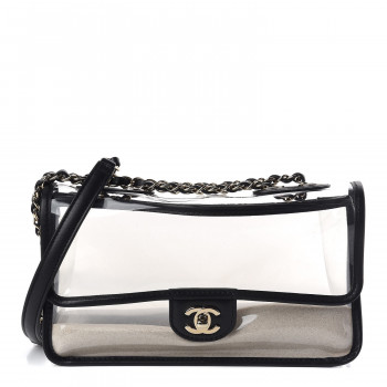 CHANEL Lambskin PVC Medium Coco Sand Flap Black