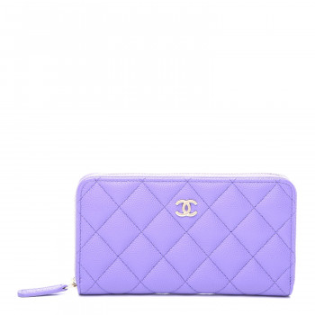 CHANEL Caviar Quilted Medium Zip Around Wallet Purple