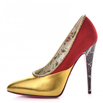 ac6bb049b GUCCI Metallic Calfskin Suede Elaphe Snakeskin Peachy Pumps 38 Oro Red  Roccia
