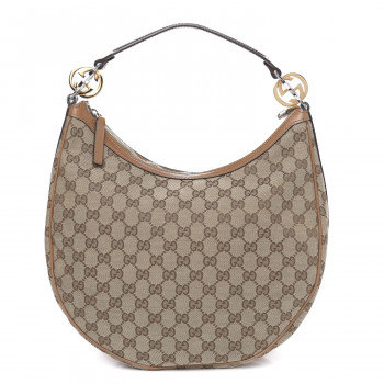 GUCCI Monogram Medium GG Twins Hobo Tan