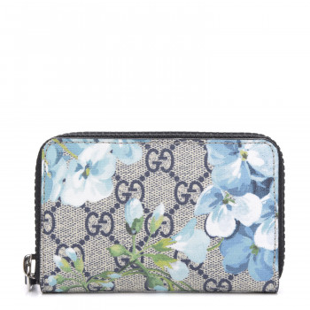 GUCCI GG Supreme Monogram Blooms Print Zip Around Card Case Wallet Blue
