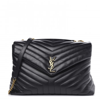 SAINT LAURENT Calfskin Y Quilted Monogram Large Loulou Chain Satchel Black