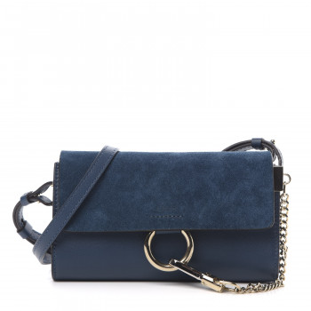 CHLOE Suede Calfskin Mini Faye Shoulder Bag Majolica Blue