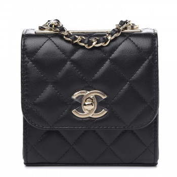 CHANEL Lambskin Quilted Mini Trendy CC Chain Wallet Black