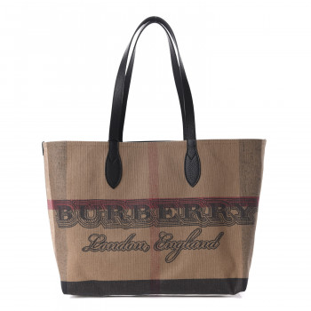 BURBERRY Coated Canvas Giant Check Medium Doodle Tote Black