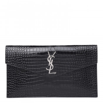 SAINT LAURENT Calfskin Crocodile Embossed Uptown Monogram Clutch Black
