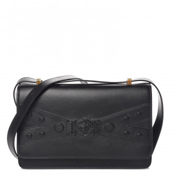 VERSACE Calfskin Tribute X Shoulder Bag Black
