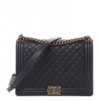 CHANEL Caviar Quilted Large Boy Flap Blue