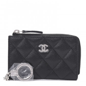 CHANEL Caviar Quilted Key Holder Case Black