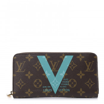 LOUIS VUITTON Monogram V Zippy Wallet Turquoise