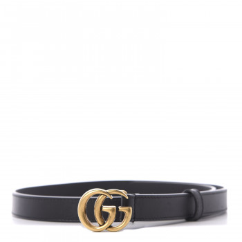 GUCCI Calfskin Double G 20mm Belt 75 30 Black