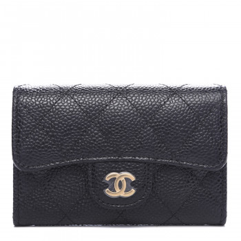 CHANEL Caviar Quilted Flap Card Holder Black