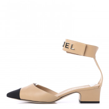 CHANEL Lambskin Grosgrain Cap Toe Logo Ankle Strap Pumps 38 Beige Black