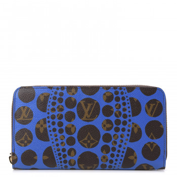 LOUIS VUITTON Monogram Kusama Pumpkin Dots Zippy Wallet Blue