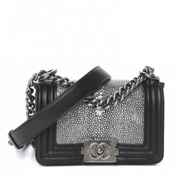 CHANEL Galuchat Stingray Mini Boy Flap Black Silver