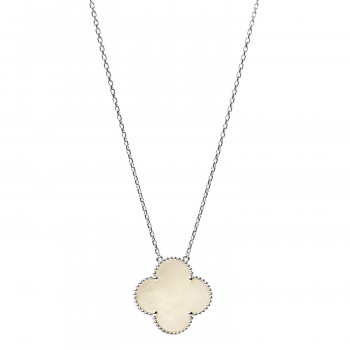 VAN CLEEF & ARPELS 18K White Gold Mother of Pearl Magic Alhambra Pendant Necklace