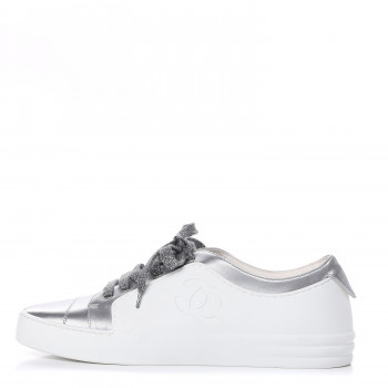 CHANEL Iridescent Goatskin Womens Sneakers 39 White Silver