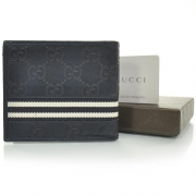 15cbef32efea GUCCI Guccissima Mens Web Bi-Fold Wallet Navy Blue. Empty. Pinch/Zoom. ‹ ›  ‹ ›