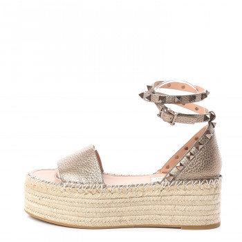 VALENTINO Metallic Grained Calfskin Rockstud Espadrille Wedge Sandals 36 Neupat