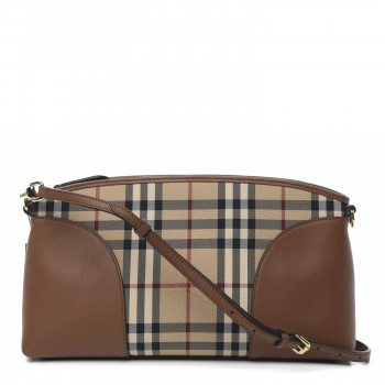 BURBERRY Horseferry Check Small Chichester Crossbody Clutch Bag Honey Tan