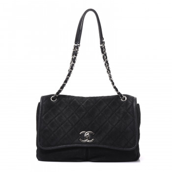 CHANEL Ultra Soft Suede Calfskin Large Natural Beauty Flap Black