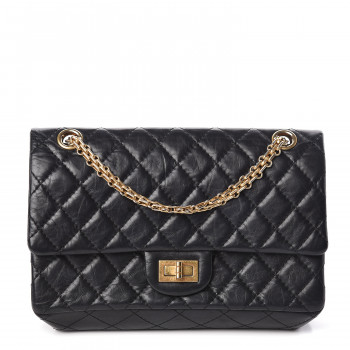 CHANEL Aged Calfskin Quilted 2.55 Reissue 225 Flap Black