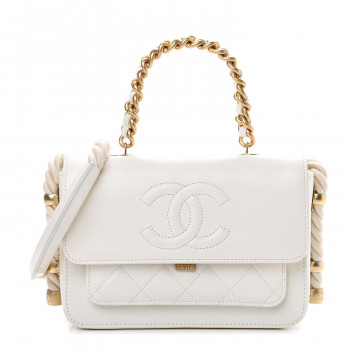 CHANEL Crumpled Calfskin En Vogue Rope Flap White