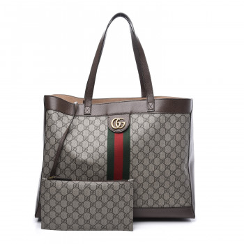 GUCCI GG Supreme Monogram Web Large Ophidia Tote Brown
