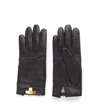 HERMES Lambskin Soya Kelly Lock Gloves 8 Black