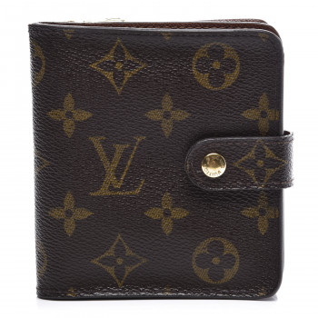 LOUIS VUITTON Monogram Compact Zippe Zipped Wallet