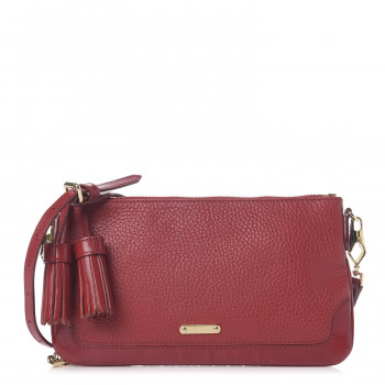 BURBERRY Signature Grain Calfskin Tassel Peyton Crossbody Bag Red