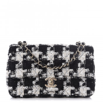 CHANEL Tweed Quilted Mini Rectangular Flap Black Ecru White