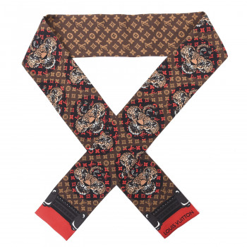 LOUIS VUITTON Silk Monogram Jaguar Animalle Bandeau Scarf Marron
