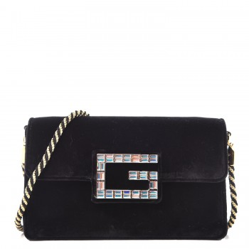 3295c75af62 Velvet Crystal Square G Shoulder Bag Black