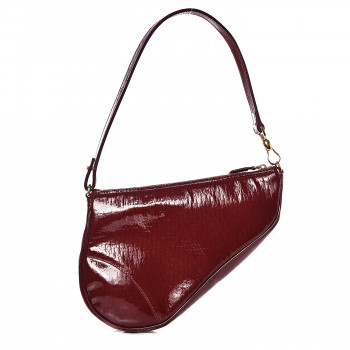 CHRISTIAN DIOR Patent Monogram Mini Saddle Pochette Red