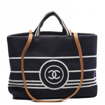 CHANEL Denim Large Shopping Tote Black