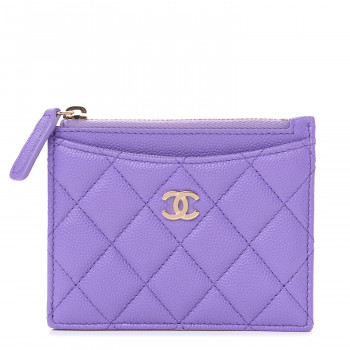 CHANEL Caviar Quilted CC Zip Card Holder Purple
