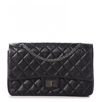 CHANEL Aged Calfskin Quilted 2.55 Reissue 227 Flap Black