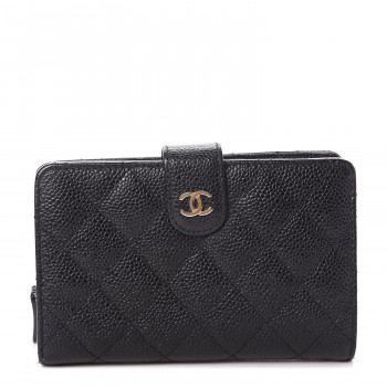 CHANEL Caviar Quilted Zipped Pocket Wallet Black