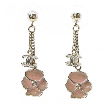 CHANEL Enamel Crystal CC Camellia Drop Earrings Pink Gold