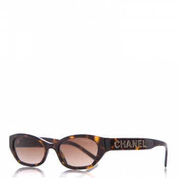 CHANEL Rectangle Sunglasses A71280 Dark Tortoise Brown