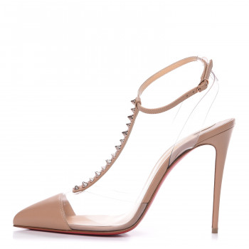 CHRISTIAN LOUBOUTIN Kid Leather PVC Nosy Spikes 100 Pumps 39 Nude