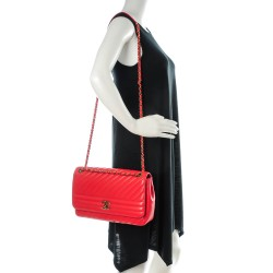 c295b2a74added CHANEL Shiny Goatskin Diagonal Quilted Medium Flap Red. Empty. Pinch/Zoom.  ‹ › ‹ ›