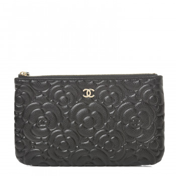 CHANEL Caviar Camellia Embossed Small Pouch Black